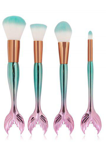 Shop Professional 4Pcs Mermaid Shaped Fiber Hair Makeup Brush Set