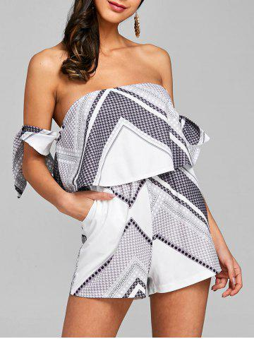 Hot Ruffle Bowknot Off The Shoulder Romper