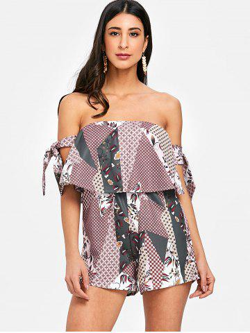 Ruffle Bowknot Off The Shoulder Romper