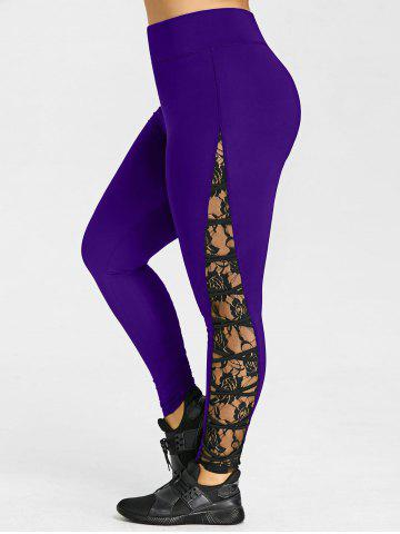 Latest Criss Cross Lace Panel Plus Size Leggings