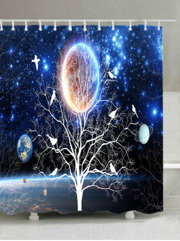 Sale Solar System Tree Print Waterproof Fabric Shower Curtain