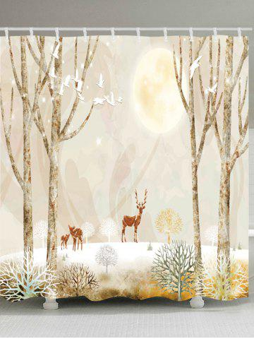 Cheap Elk on Snowfield Print Fabric Waterproof Shower Curtain