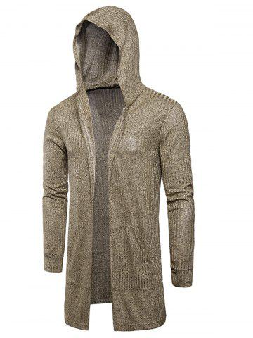 Discount Hooded Pockets Longline Knitting Cardigan