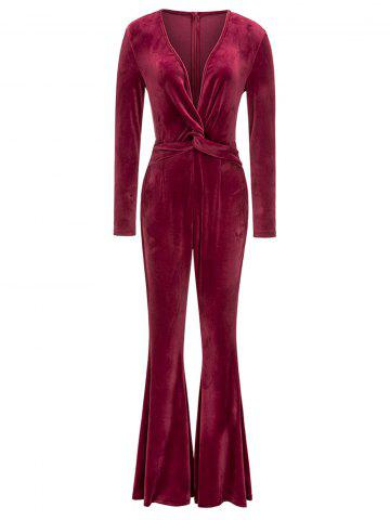 Discount Plunging Neck Twist Flared Leg Jumpsuit