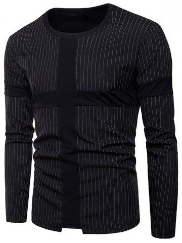 Store Cross Panel Vertical Stripe Long Sleeve T-shirt