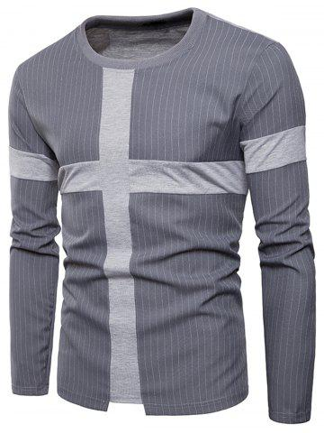Online Cross Panel Vertical Stripe Long Sleeve T-shirt