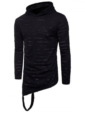 Fashion Distressed Asymmetric Long Sleeve T-Shirt