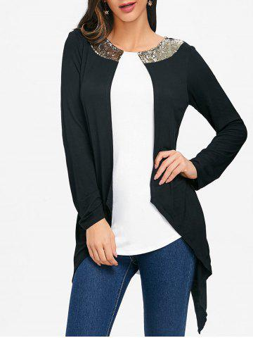 Asymmetrical Color Block Sequins Tunic Tee - WHITE AND BLACK - XL