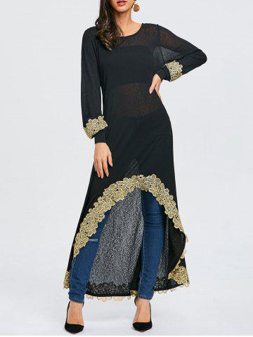 Trendy Embroidered High Low Maxi Tee