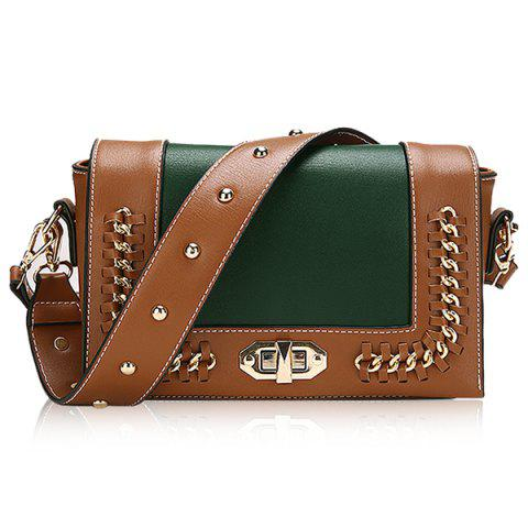 Outfit Faux Leather Whipstitch Chain Crossbody Bag