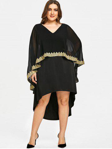 db76ef6d975 Plus Size V Neck High Low Capelet Dress