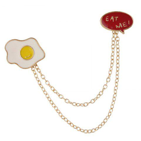 Trendy Fried Egg Chain Collar Brooch
