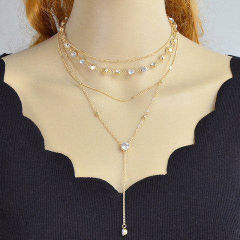 Rhinestone Alloy Chain Layered Necklace Set