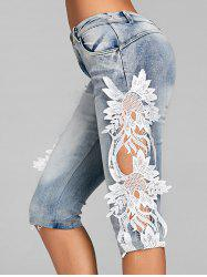 Crochet Trimmed Knee Length Denim Shorts -