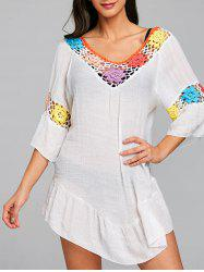 Flounce Flower Crochet Panel Cover Up Dress -