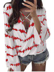 Blouse Imprimé Pliss Cross Plunge Surplie -