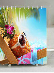Hawaiian Pineapple with Sunglasses Print Fabric Bath Curtain -