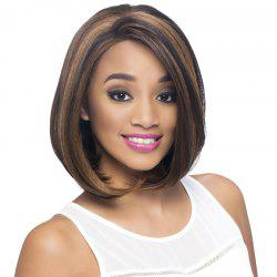 Short Inclined Bang Tail Adduction Straight Bob Colormix Synthetic Wig -