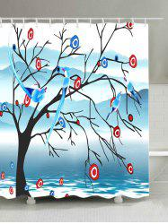 Fog Mountain Flower Bird Print Bath Shower Curtain -