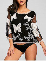 Batwing Butterfly Broderie Mesh Cover Up -