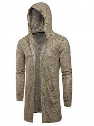 Hooded Pockets Longline Knitting Cardigan -