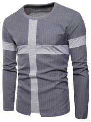 Cross Panel Vertical Stripe Long Sleeve T-shirt -