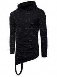 Distressed Asymmetric Long Sleeve T-Shirt -