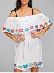 Crochet Insert Off Shoulder Cover Up Dress -