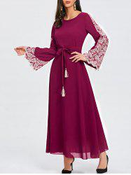Lace Panel Flare Sleeve Belted Maxi Dres -