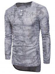 Jacquard Knit Blends Longline T-shirt -