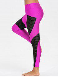 Sheer Workout Leggings with Mesh Panel -