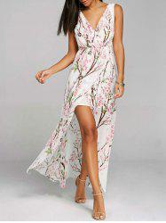 High Slit V-neck Floral Flowy Chiffon Dress -