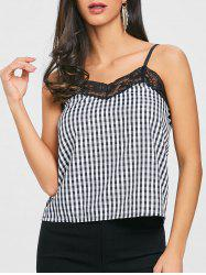 Cami Strap Lace Trimmed Plaid Tank Top -