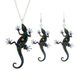 Statement Lizard Necklace with Earring Set -
