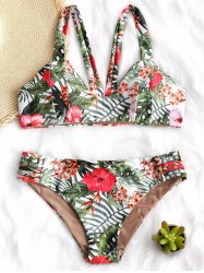 Leaf and Flower Print Padded Bikini Set -
