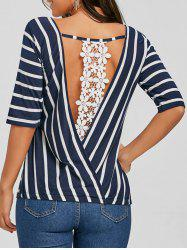 Lace Panel Backless Striped T-shirt -