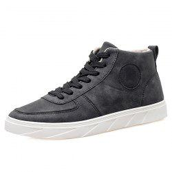 Fashionable PU Leather and Tie Up Design Casual Shoes For Men -