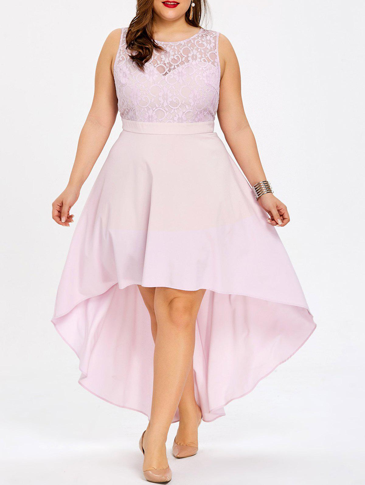S Plus Size Lace Panel High Low Bridesmaid Dress