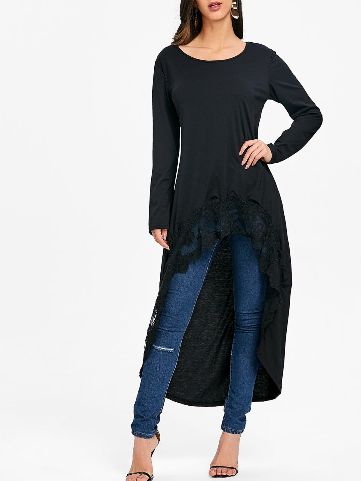 Lace Trimmed High Low Long Sleeve Top
