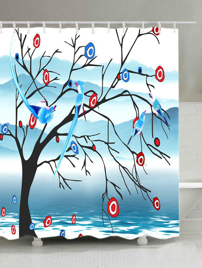 Best Fog Mountain Flower Bird Print Bath Shower Curtain