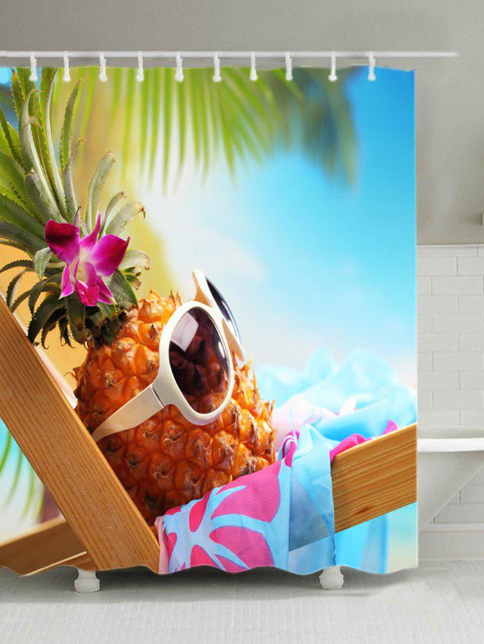 Fashion Hawaiian Pineapple with Sunglasses Print Fabric Bath Curtain