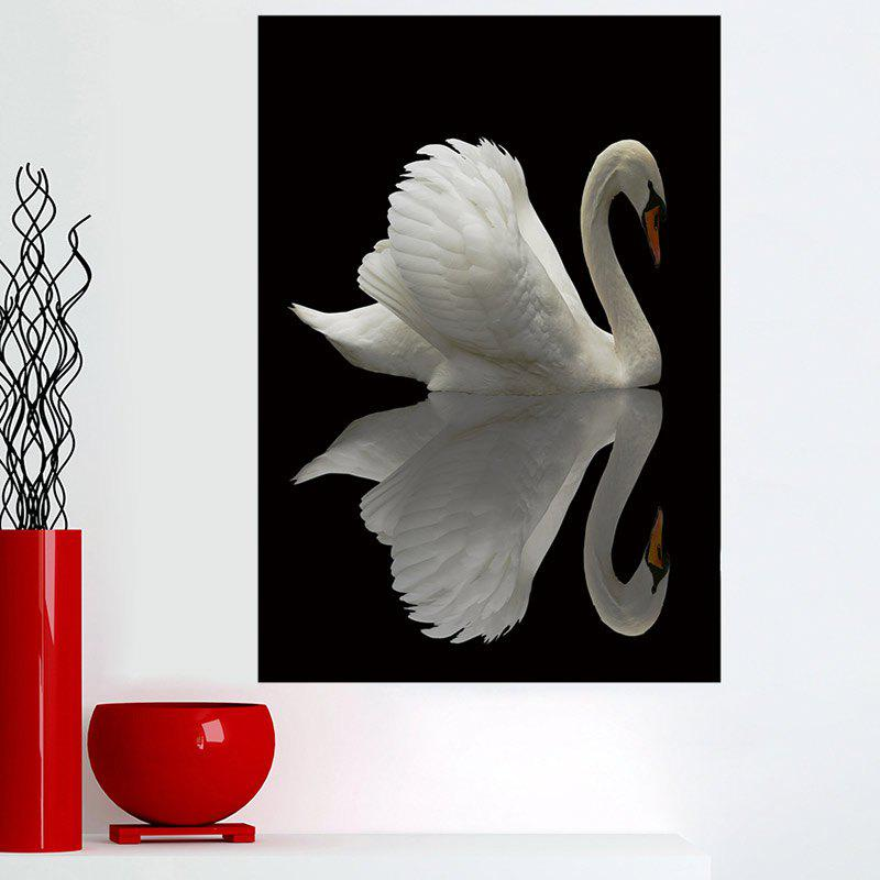 Unique Reflection Swan Print Frameless Wall Art Painting