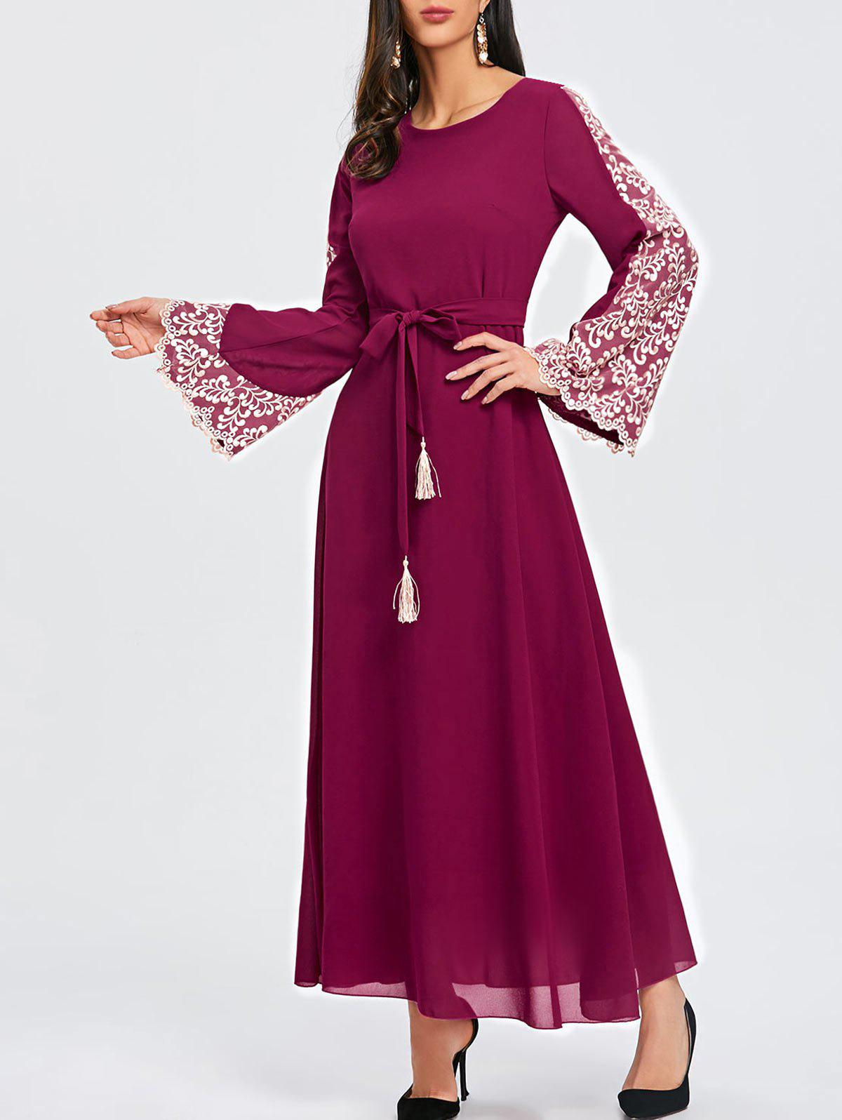 New Lace Panel Flare Sleeve Belted Maxi Dres