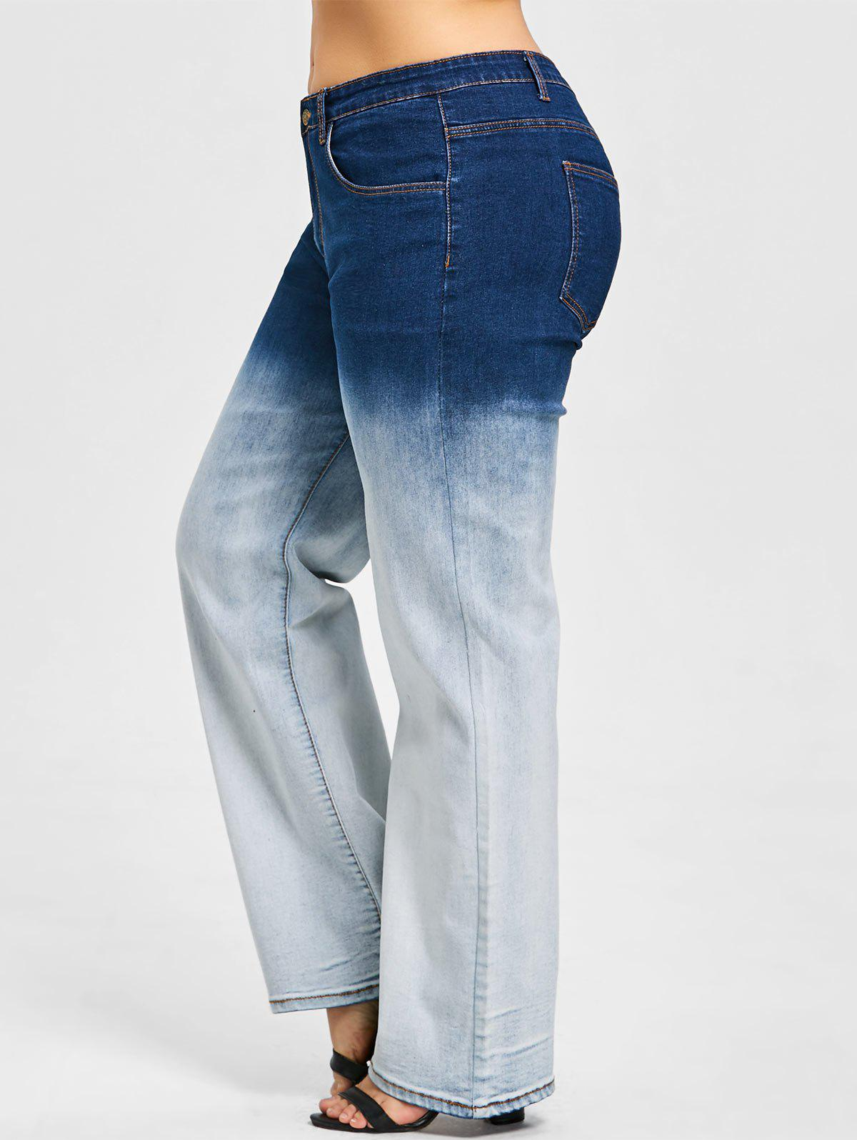 New Plus Size Ombre Wide Leg Jeans
