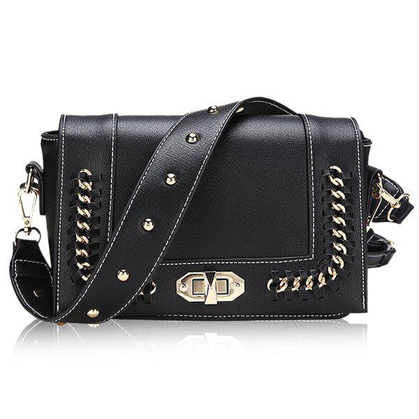 Online Faux Leather Whipstitch Chain Crossbody Bag