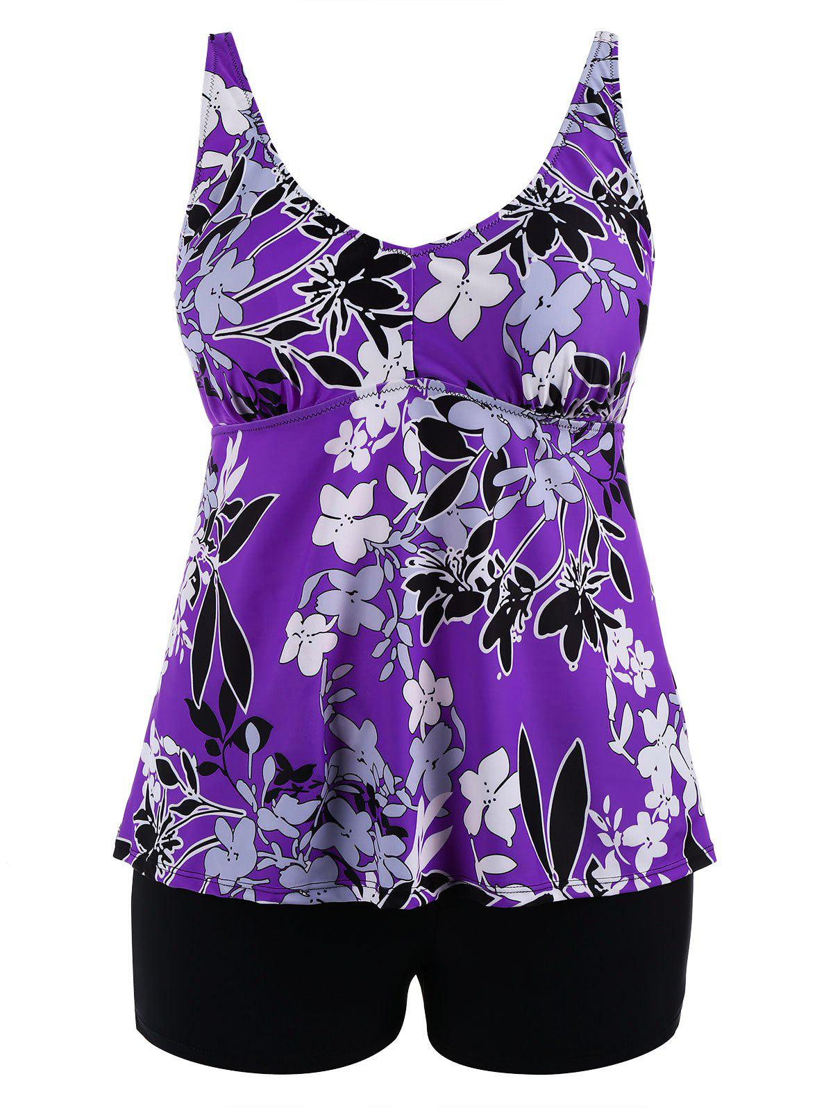 Shop Padded High Waisted Floral Plus Size Tankini Set