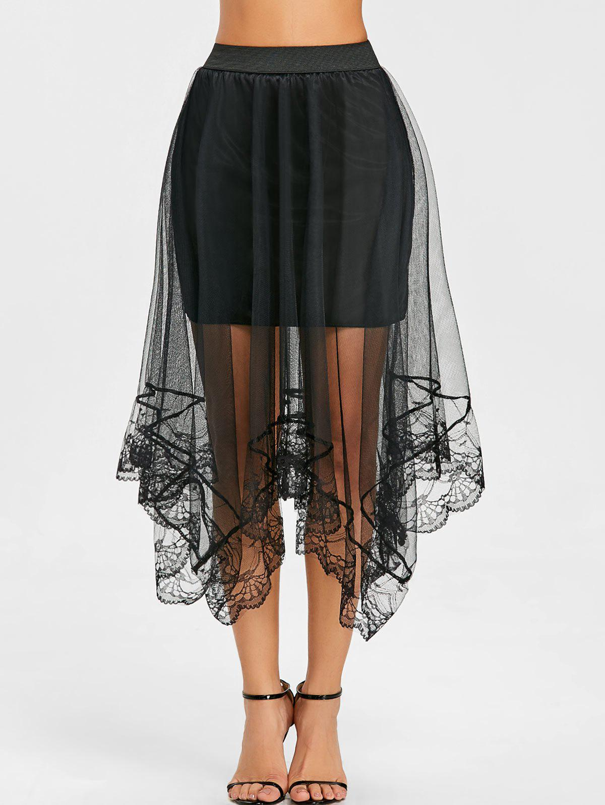 Hot Lace Trimmed Asymmetric Tulle Skirt