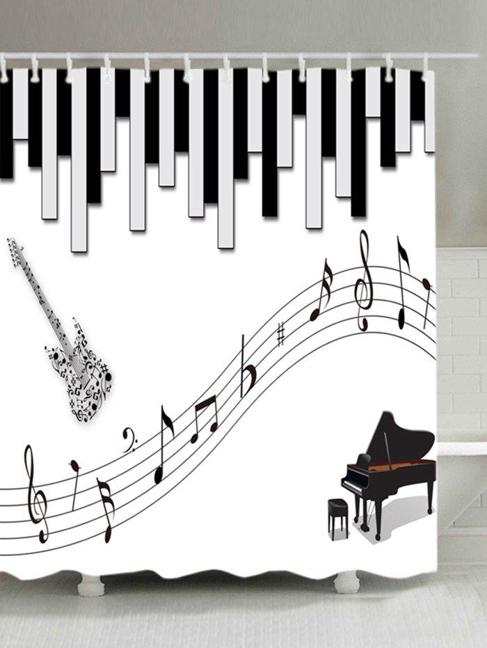 Chic Musical Instrument Print Waterproof Bathroom Shower Curtain
