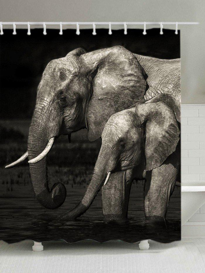 Outfits Elephants Print Waterproof Fabric Bathroom Shower Curtain