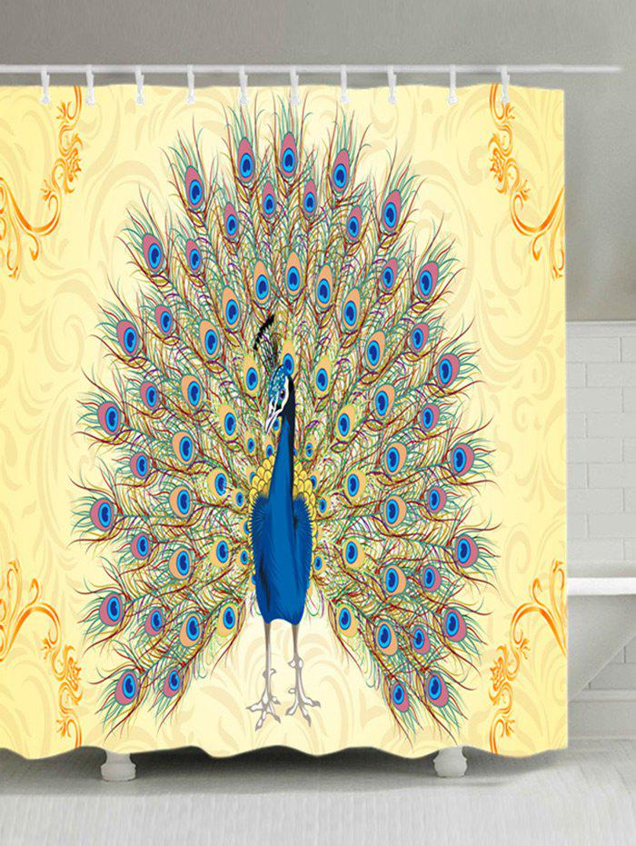 Trendy Peacock Print Waterproof Fabric Shower Curtain